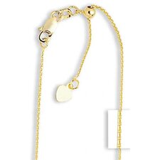 14k 0.9mm Adjustable Cable Chain Necklace