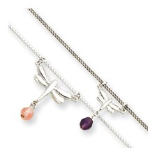Amethyst Cherry Quartz Double Dragonfly Anklet - Spring Ring