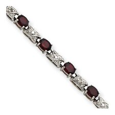<strong>Jewelryweb</strong> Sterling Silver Box Clasp Garnet and Diamond X and O Bracelet