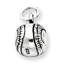 <strong>Jewelryweb</strong> Sterling Silver Antiqued Baseball Charm
