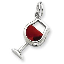 <strong>Jewelryweb</strong> Sterling Silver Red Cubic Zirconia Wine Glass Charm