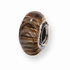 <strong>Jewelryweb</strong> Sterling Silver Reflections Brown Murano Glass Bead Charm