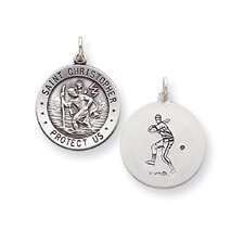 <strong>Jewelryweb</strong> Sterling Silver Saint Christopher 2 Round Medal Baseball Charm