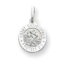 Sterling Silver Saint Christopher Circle Medal Charm