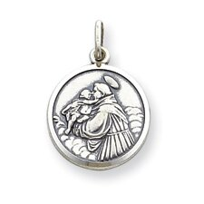 Sterling Silver Saint Anthony Round Medal Charm