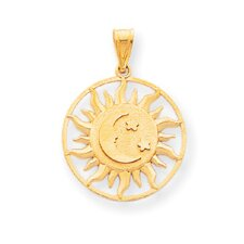 <strong>Jewelryweb</strong> 14k Polished Sun with Moon and Star Charm