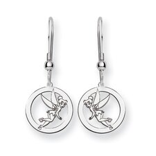 Sterling Silver Disney Tinker Bell Round Wire Earrings