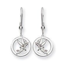 Sterling Silver Disney Tinker Bell Round Wire Earrings