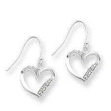 Sterling Silver Fancy Heart Earrings