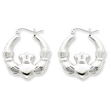 <strong>Jewelryweb</strong> Sterling Silver Polished Claddagh Hoop Earrings