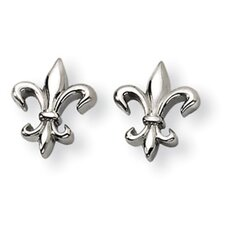 <strong>Jewelryweb</strong> Titanium Fleur de Lis Earrings