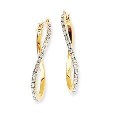 14k Diamond Fascination Twist Hinged Hoop Earrings