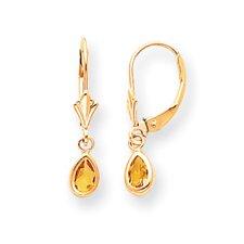 """14k Citrine Earrings - November Birthstone - 7/8"""" drop"""