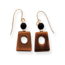 14k Tigers Eye and Onyx Dangle Earrings