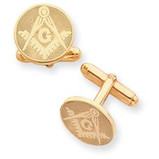 <strong>Jewelryweb</strong> Gold-plated Round Masonic Cuff Links