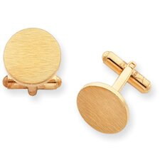 <strong>Jewelryweb</strong> Gold-plated Round Satin Cuff Links