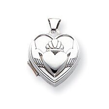 14k White Gold Polished Heart-Shaped Claddagh Locket