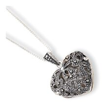Sterling Silver Marcasite Heart Locket With Chain - Spring Ring