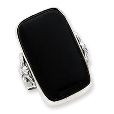 Sterling Silver Rectangle Black Onyx Ring