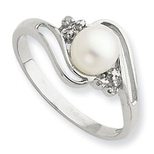 Sterling Silver Rhodium 6mm FW Cultured Button Pearl and Diamond Ring
