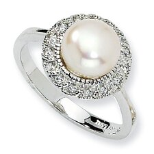 Sterling Silver CZ White Cultured Pearl Ring