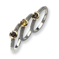 <strong>Jewelryweb</strong> Sterling Silver With 14k Gemstone 3 Stackable Rings