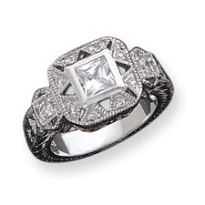 <strong>Jewelryweb</strong> Sterling Silver CZ Antique Style Ring