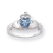 14k White Gold Blue Topaz CZ December Birthstone Claddagh Heart Ring