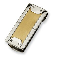 <strong>Jewelryweb</strong> Stainless Steel 24k Gold-plating Money Clip