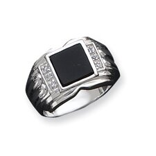 Mens Sterling Silver Square Cubic Zirconia and Onyx Ring