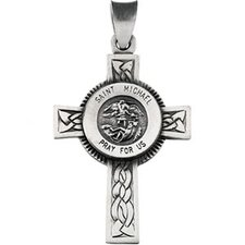 <strong>Jewelryweb</strong> Sterling Silver St. Michael Cross with Chain