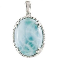 Sterling Silver Genuine Larimar Pendant20 X 15mm