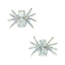 <strong>Jewelryweb</strong> Medium Spider Cubic Zirconia Stud Earrings