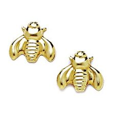 <strong>Jewelryweb</strong> Bee Stamping Stud Earrings