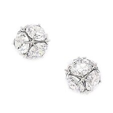 Large Disco Ball Cubic Zirconia Stud Earrings