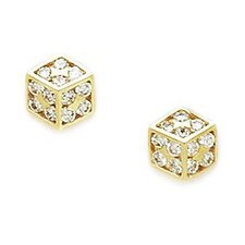<strong>Jewelryweb</strong> Small Cuboid Cubic Zirconia Stud Earrings