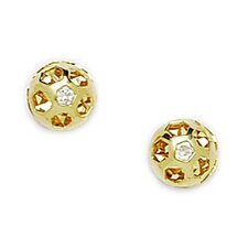 <strong>Jewelryweb</strong> Small Round Cubic Zirconia Stud Earrings
