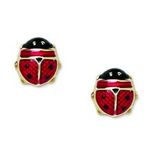 <strong>Jewelryweb</strong> Ladybug Enamel Stud Earrings