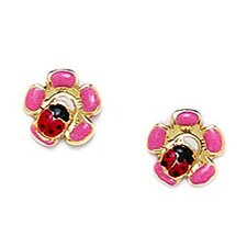 <strong>Jewelryweb</strong> Ladybug Flower Enamel Stud Earrings