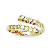 <strong>Jewelryweb</strong> 14k Yellow Gold Cubic Zirconia Fancy Adjustable Toe Ring
