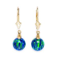 Ball Opal Drop Earrings