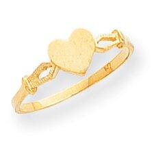 14k Yellow Gold HeartChildren Ring