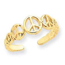 <strong>Jewelryweb</strong> 14k Yellow Gold Peace Sign Toe Ring