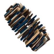 Hamba Wood Turquoise Stretch Bracelet