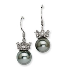 Crown Cubic Zirconia Drop Earrings