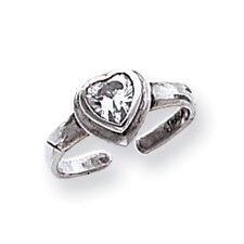 Sterling Silver Heart Cubic Zirconia Solid Toe Ring