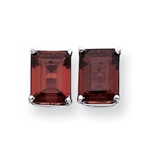 Emerald Cut Garnet Stud Earrings