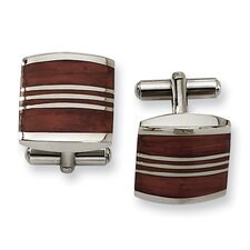 <strong>Jewelryweb</strong> Stainless Steel and Wood Cuff Links