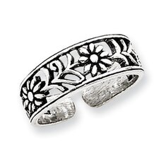 Sterling Silver Flower Solid Toe Ring