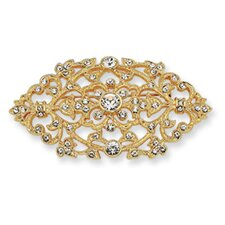Gold-plated Swarovski Element Crystal Floral Brooch Pin